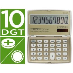 CALCULADORA CITIZEN BOLSILLO CTC-110 B 10 DIGITOS CREMA CHAMPAN 106X63X14 MM