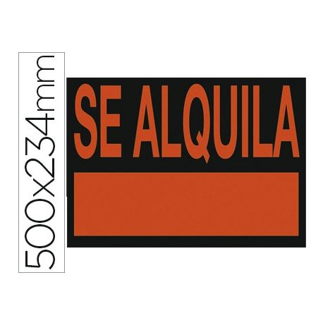 """CARTEL PLASTICO """"SE ALQUILA"""" ROJO FLUORESCENTE -500X234 MM"""