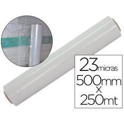 FILM EXTENSIBLE MANUAL BOBINA -ANCHO 500 MM. -LARGO 250 MT ESPESOR 23 MICRAS TRANSPARENTE