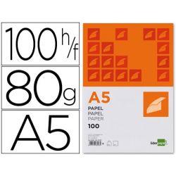 PAPEL LIDERPAPEL A5 80G/M2 PAQUETE DE 100 BLANCO