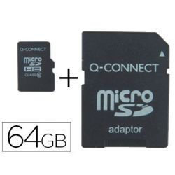 MEMORIA SD MICRO Q-CONNECT FLASH 64 GB CLASE 10 CON ADAPTADOR