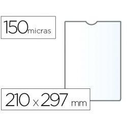 FUNDA PORTADOCUMENTO Q-CONNECTDIN A4 150 MICRAS PVC TRANSPARENTE CON U¾ERO 210X297 MM