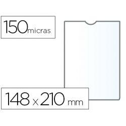 FUNDA PORTADOCUMENTO Q-CONNECTDIN A5 150 MICRAS PVC TRANSPARENTE CON U¾ERO 148X210 MM