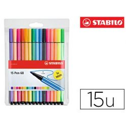 ROTULADOR STABILO ACUARELABLE PEN 68 ESTUCHE DE 10 COLORES ESTANDAR + 5 COLORES NEON