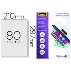 BOLSA DE PLASTIFICAR FELLOWES MATE DIN A4 80 MICRAS PACK 100 UNIDADES