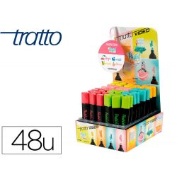 ROTULADOR TRATTO VIDEO PASTEL FLUORESCENTE EXPOSITOR DE 48 UNIDADES COLORES SURTIDOS