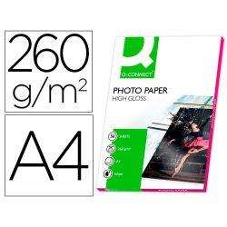 PAPEL Q-CONNECT FOTO GLOSSY DIN A4 ALTA CALIDAD DIGITAL PHOTO -PARA INK-JET DE 260GR