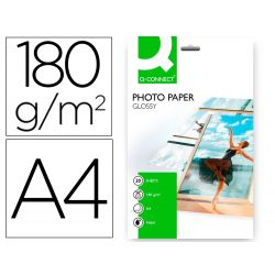 PAPEL Q-CONNECT FOTO GLOSSY -KF01103 DIN A4 -DIGITAL PHOTO -PARA INK-JET -BOLSA DE 20 HOJAS DE 180 G