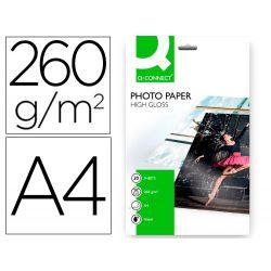 PAPEL Q-CONNECT FOTO GLOSSY KF02163 DIN A4 ALTA CALIDAD DIGITAL PHOTO -PARA INK-JET BOLSA DE 20 HOJA
