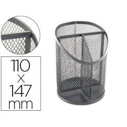 CUBILETE PORTALAPICES Q-CONNECT METAL REJILLA PLATA CON 3 COMPARTIMIENTOS DIAMETRO 110 ALTURA 147 MM