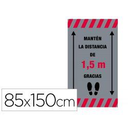 ALFOMBRA PARA SUELO DE PASO NOVUS MANTEN DISTANCIA DE 1,5 M GRACIAS FONDO GRIS 85X150 CM