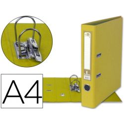 ARCHIVADOR DE PALANCA LIDERPAPEL A4 DOCUMENTA FORRADO PVC CON RADO LOMO 52MM AMARILLO COMPRESOR META