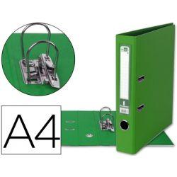 ARCHIVADOR DE PALANCA LIDERPAPEL A4 DOCUMENTA FORRADO PVC CON RADO LOMO 52MM VERDE COMPRESOR METALIC