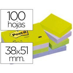 BLOC DE NOTAS ADHESIVAS QUITA Y PON POST-IT 38X51 MM ULTRA INTENSO SURTIDO PACK DE 12 BLOCS