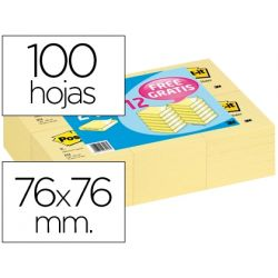 BLOC DE NOTAS ADHESIVAS QUITA Y PON POST-IT 76X76MM -PACK PROMOCIONAL 24+12