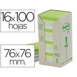 BLOC DE NOTAS ADHESIVAS QUITA Y PON POST-IT 76X76MM EN TORRERECICLADAS PACK DE 16 BLOCS 654 COLORES