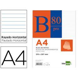 BLOC NOTAS LIDERPAPEL HORIZONTAL A4 80 HOJAS 60G/M2 ENCOLADO