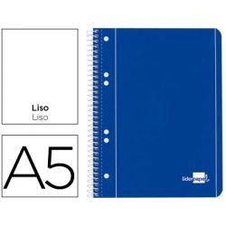 BLOC ESPIRAL LIDERPAPEL A5 MICRO SERIE AZUL TAPA CARTONCILLO 80H 70G LISO 6 TALADROS. AZUL