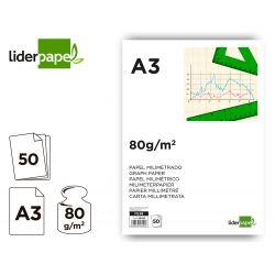BLOC PAPEL MILIMETRADO LIDERPAPEL ENCOLADO 297X420MM 80G / M2
