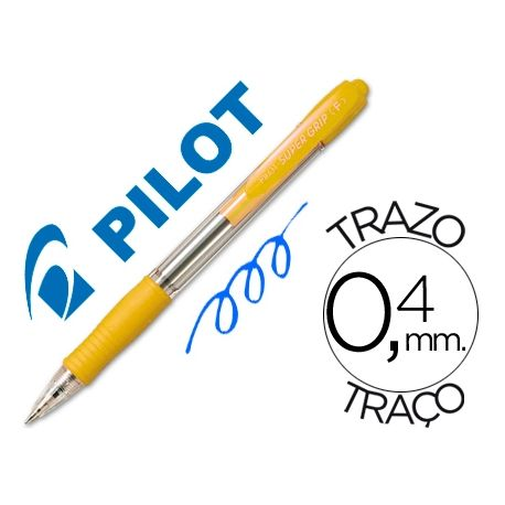 BOLIGRAFO PILOT SUPER GRIP AMARILLO -RETRACTIL -SUJECION DE CAUCHO -TINTA BASE DE ACEITE