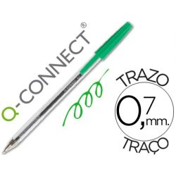 BOLIGRAFO TRANSPARENTE Q-CONNECT VERDE MEDIO KF01043
