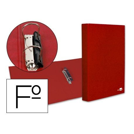 CARPETA DE 2 ANILLAS 25MM MIXTAS LIDERPAPEL FOLIO CARTON FORRADO PAPER COAT COMPRESOR PLASTICO ROJA