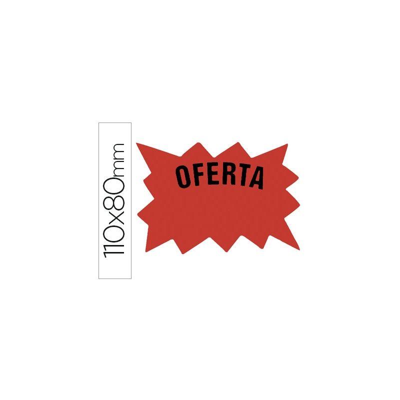 CARTEL ETIQUETA MARCA PRECIOS CARTULINA ROJO FLUORESCENTE TAMANO 110X80 MM