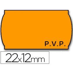 ETIQUETAS METO ONDULADAS 22 X 12 MM PVP FN. ADH 2 -FLUOR NARANJA -ROLLO 1500 ETIQUETAS