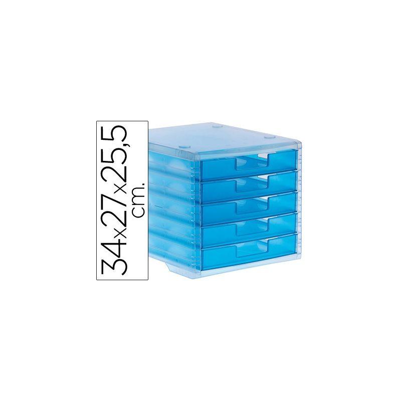 FICHERO CAJONES DE SOBREMESA LIDERPAPEL 340X270X255 MM APILABLES 5 CAJONES AZUL MAR TRANSLUCIDO