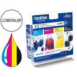INK-JET BROTHER LC-980BK DCP-145 DCP-165 MFC-250 MFC-290 NEGRO MAGENTA AMARILLO CIAN PACK4