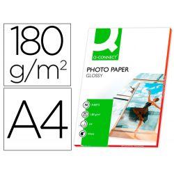 PAPEL Q-CONNECT FOTO GLOSSY DIN A4 ALTA CALIDAD DIGITAL PHOTO -PARA INK-JET BOLSA DE 50 HOJAS DE 180