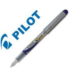 PLUMA PILOT V PEN SILVER DESECHABLE AZUL SVP-4ML