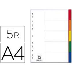 SEPARADOR Q-CONNECT PLASTICO JUEGO DE 5 SEPARADORES DIN A4 -MULTITALADRO