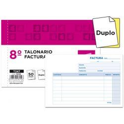 TALONARIO LIDERPAPEL FACTURAS 8. ORIGINAL Y COPIA T247 APAISADO SIN I.V.A