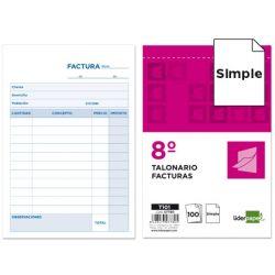 TALONARIO LIDERPAPEL FACTURAS OCTAVO -SIN IVA- 101