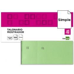 TALONARIO LIDERPAPEL MOSTRADOR 62X145 MM TL06 VERDE CON MATRIZ