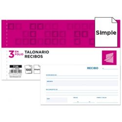 TALONARIO LIDERPAPEL RECIBOS 3/F. ORIGINAL T136 SIN MATRIZ