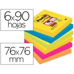BLOC DE NOTAS ADHESIVAS QUITA Y PON POST-IT SUPER STICKY 76X76 MM CON 90 HOJAS PACK DE 6 BLOC COLORE