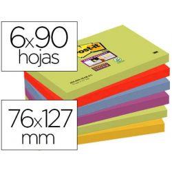 BLOC DE NOTAS ADHESIVAS QUITA Y PON POST-IT SUPER STICKY 76X127 MM CON 90 HOJAS PACK DE 6 BLOC COLOR