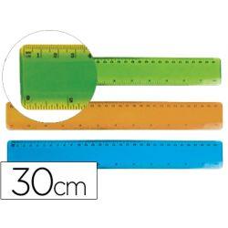 REGLA PLASTICO FLEXIBLE LIDERPAPEL DE 30 CM COLORES SURTIDOS