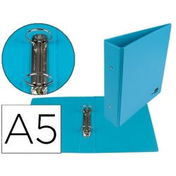 CARPETA DE 2 ANILLAS 40 MM MIXTAS LIDERPAPEL A5 CARTON FORRADO PVC AZUL
