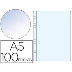 FUNDA MULTITALADRO Q-CONNECT DIN A5 100 MC CRISTAL 6 TALADROS