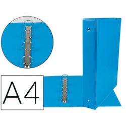 CARPETA DE 4 ANILLAS 40 MM MIXTAS LIDERPAPEL A4 CARTON FORRADO PVC AZUL
