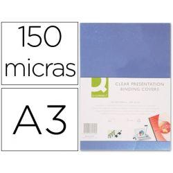 TAPA DE ENCUADERNACION Q-CONNECT PVC DIN A3 INCOLORA 150 MC