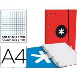 CARPETA CON RECAMBIO Y SOLAPA LIDERPAPEL ANTARTIK A4 CUADRO 5 MM FORRADA 4 ANILLAS RED.40MM ROJO