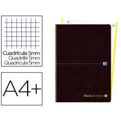 CUADERNO ESPIRAL OXFORD EBOOK 1 TAPA PLASTICO DIN A4+ 80 H CUADRICULA 5 MM BLACK'N COLORS LIMA