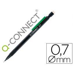 PORTAMINAS Q-CONNECT 0.7 MM CON 3 MINAS CUERPO NEGRO CON CLIP VERDE