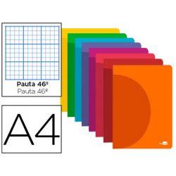 LIBRETA LIDERPAPEL 360 TAPA DE PLASTICO A4 48 HOJAS 90G/M2 RAYADO NUMERO 46 COLORES SURTIDOS