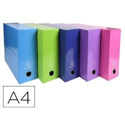 Caja transferencia exacompta iderama din a4 lomo 90 mm colores surtidos.