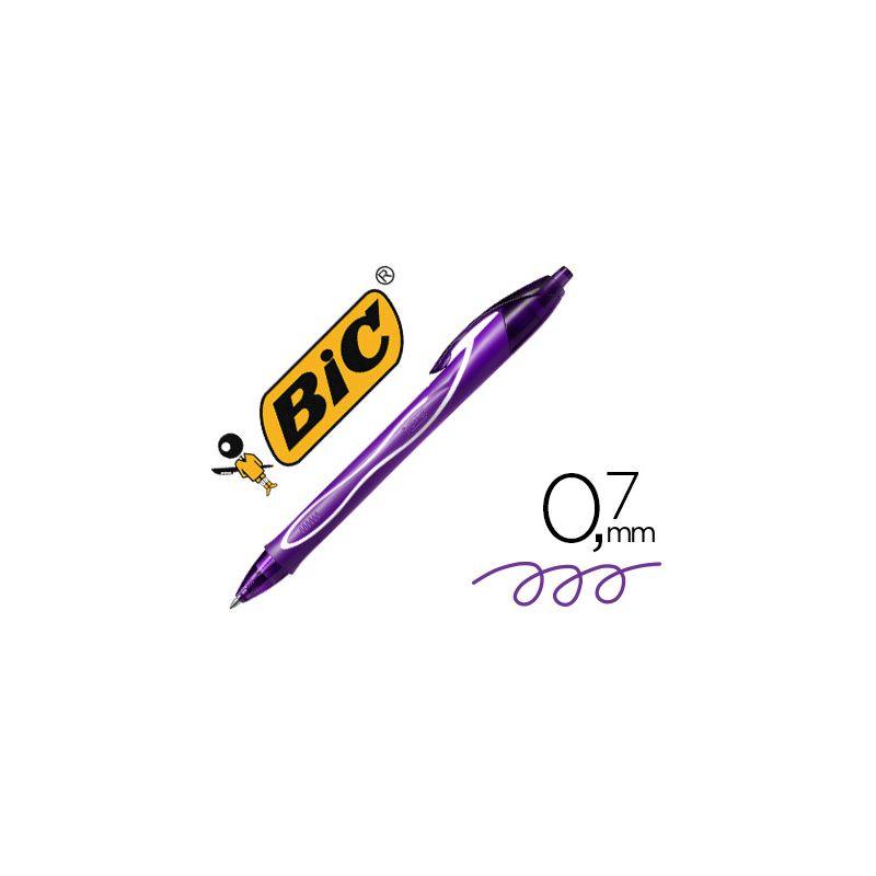BOLIGRAFO BIC GELOCITY QUICK DRY RETRACTIL TINTA GEL PURPURA PUNTA DE 0,7 MM